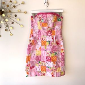 Lilly Pulitzer pink multi patch strapless dress 4